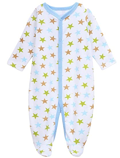 5c49a1ce4 Amazon.com  KLJR Newborn Baby Long Sleeve Star Print Cotton Romper ...