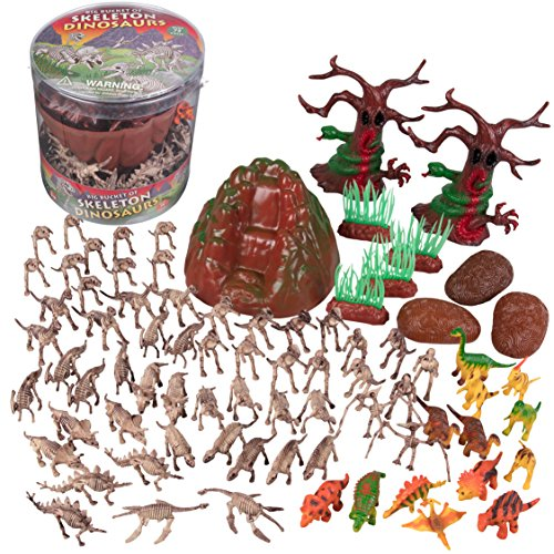 SCS Direct Dinosaur Skeleton Action Figures - Big Bucket of Skeleton Dinosaurs - Huge 75+ Piece Set Full of Fossil Fun]()