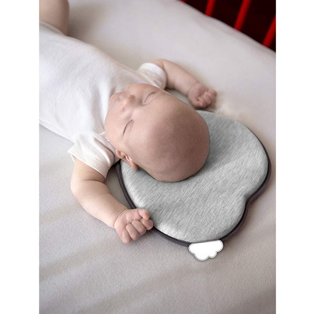 Coj/ín principal del beb/é que forma la almohadilla del beb/é de cabeza plana almohada suave esponja de la espuma Cabeza Cabeza apoyo protector para el reci/én nacido gris el dormir