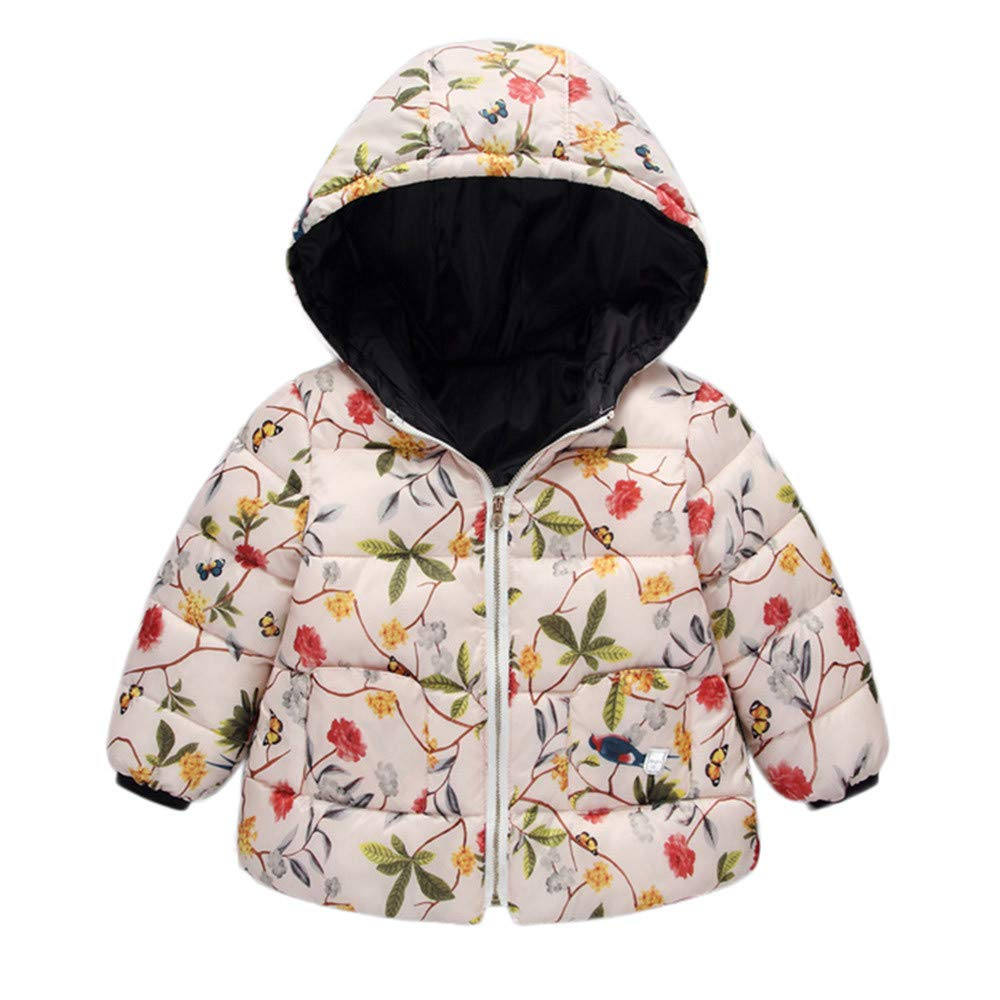 Winter Hooded Coat Floral Jacket Thick Warm Down Outerwear Willsa Baby Girls Jacket