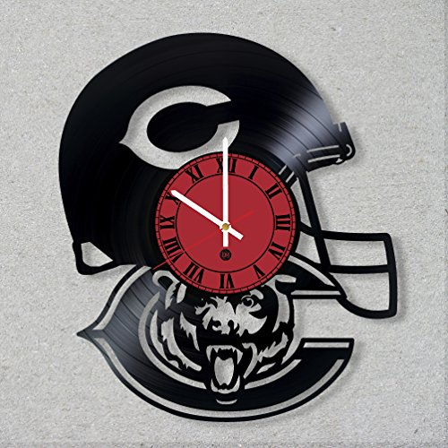 (Vinyl Record Wall Clock The Chicago Bears American Football Team NFL Illinois Handmade decor unique gift ideas for friends him her boys girls World Art Design)