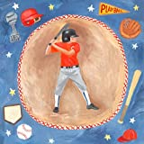 Oopsy Daisy baseball star- boy stretched canvas wall art by donna ingemanson, 14 by 14-inch