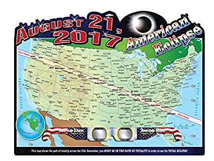American Eclipse Wall Map 23 X 17 5 Inches 1 Pair Ce Certified