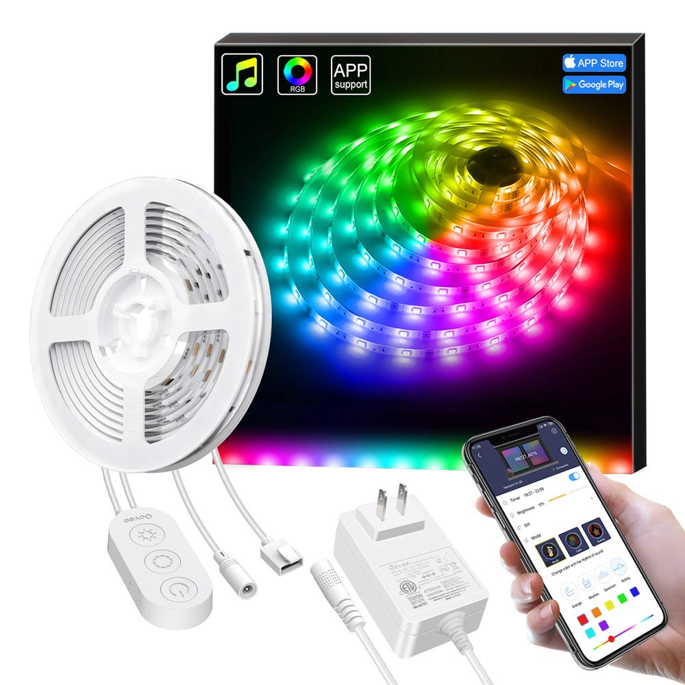 Govee Dreamcolor Led Strip Lights Music Sync, 16.4Ft Waterproof Phone Controlled Color Changing Light Strip for Party, Room, Bedroom, TV, Kitchen Cabinet Decoration [All-in-One Kit]