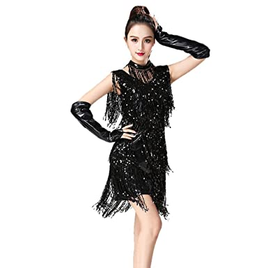 Blingstory 3pcs Evening Party Clubwear Art Deco Tassel Fringe Sequin Female Latin Dress Samba Dance Vestidos