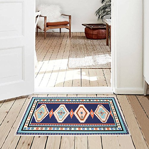 Mr Fantasy Kitchen Mat Non Slip Entry Way Doormat Absorbent Area Accent Rug Geometric Trellis Rug Blue 20'' X 31'' ()