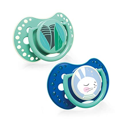 LOVI Follow the Rabbit - Pack de 2 chupetes dinámicos silicona para niño, talla 3-6 meses