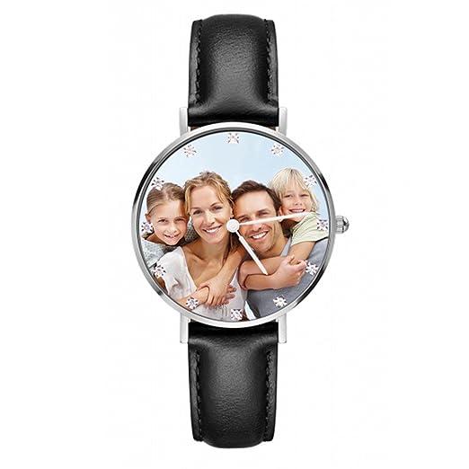 Relojes personalizados para hombres con foto personalizada Relojes de acero inoxidable con banda de cuero, regalo personalizado para niño amigo: Amazon.es: ...