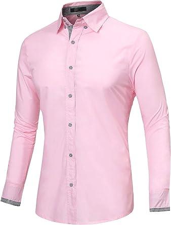 Sourcingmap - Camisa de manga larga con botones para hombre Rosa rosa M (50): Amazon.es: Ropa y accesorios