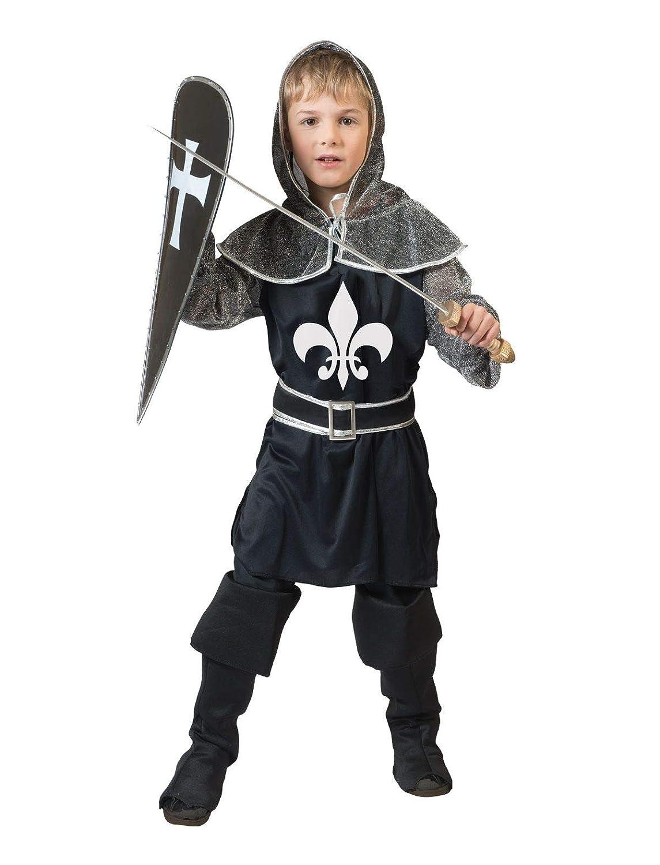 TrendClub100® Ritter Kostüm für Herren, Ritterkostüm Dark Knight Schwarzer Ritter (E, 48-50)