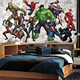 RoomMates JL1433M Marvel Hero XL Chair Rail Prepasted Mural 6' x 10.5' -Ultra-Strippable