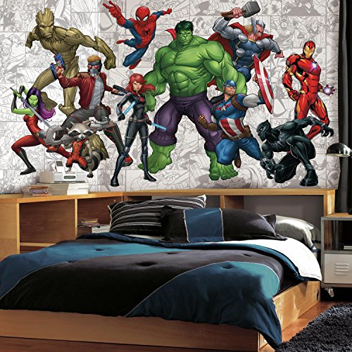 RoomMates JL1433M Marvel Hero XL Chair Rail Prepasted Mural 6' x 10.5' -Ultra-Strippable Marvel Heroes Scene