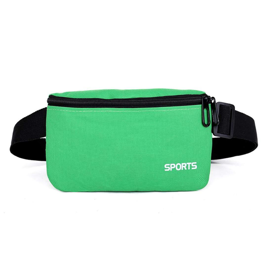 2018 Unisex Outdoor Sport Solid Oxford Cloth Waist Bag Fanny Pack Belt Bag Travel Purse Waist Bag (Green)