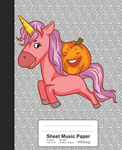 Sheet Music Paper: Pumpkin Riding Unicorn Book (Weezag Sheet Music Paper Notebook)