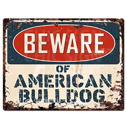 American Bulldog Bulldog - Beware of AMERICAN BULLDOG Chic Sign Vintage Retro Rustic 9