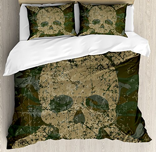 - Ambesonne Camo Duvet Cover Set, Abstract Texture with Skull and Crossbones Pattern Aged Rusty Grunge Style, Decorative 3 Piece Bedding Set with 2 Pillow Shams, Queen Size, Green Cream