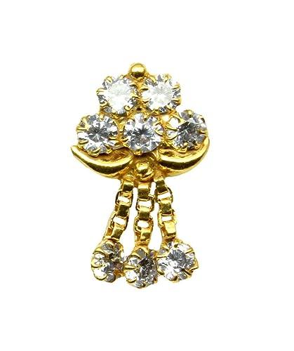 Buy 22k Gold Filled Indian Nose Stud White Cz Push Pin Piercing