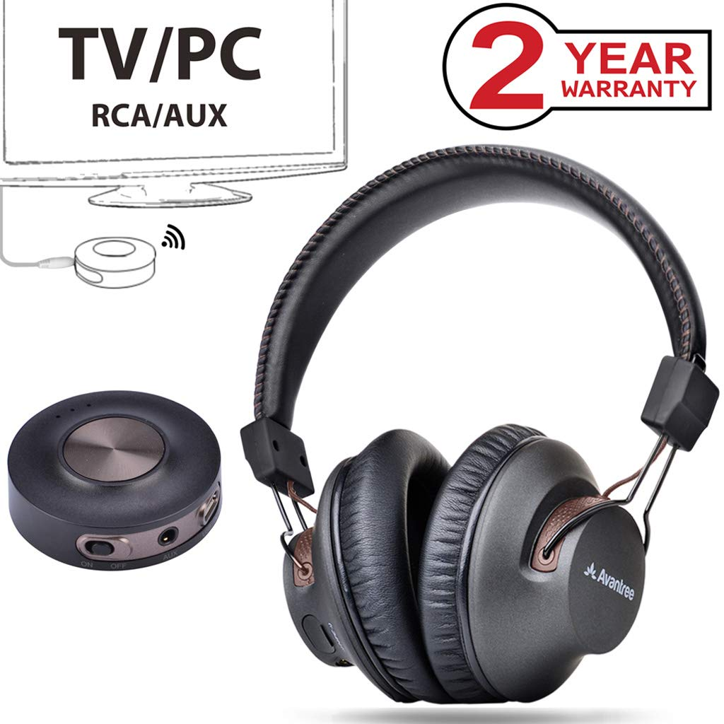 Avantree HT3189 Wireless Headphones for TV Watching & PC Gaming with Bluetooth Transmitter (3.5mm AUX, RCA, PC USB Digital Audio, NO Optical), Plug & Play, No Delay, 100ft Long Range, 40hrs Battery