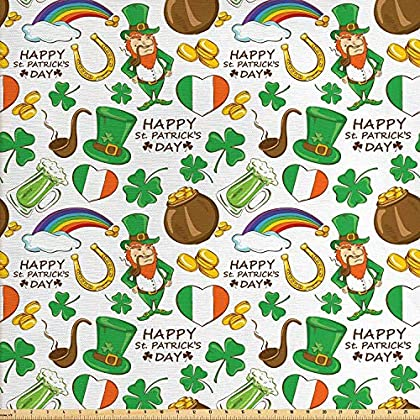 Image of SODIKA 4 Piece Bedding Set with Zipper Closure Comfortable Luxurious Irish Party Pattern Beer Leprechaun Flag Hearts Rainbow Gold and Shamrock St. Patrick's Day Fabric by The Yard, 1 Yard Multicolor Home and Kitchen