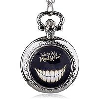 HWCOO Relojes De Bolsillo Reloj retro de medio punto Alice in Wonderland Reloj de bolsillo de cuarzo
