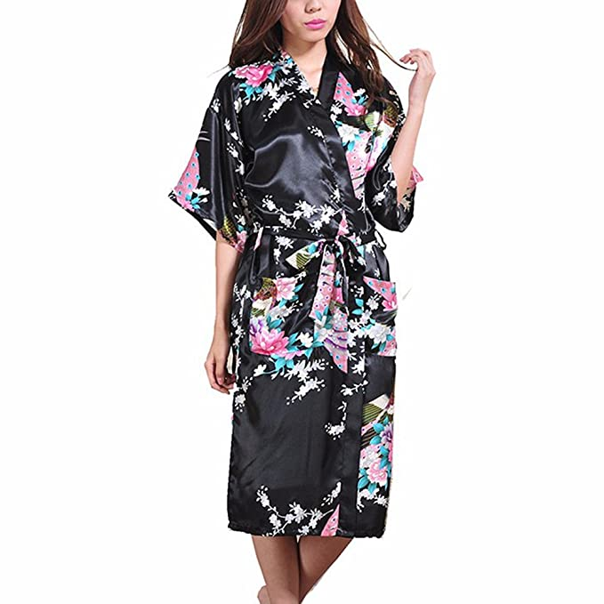 FY Women Ladies Sexy Kimono Long Bathrobe Satin Silk Robes Dressing Gown  Peacock Floral Print Nightdress Nightwear Sleepwear for Bridal Bridesmaid  Spa ... 6845a8e52