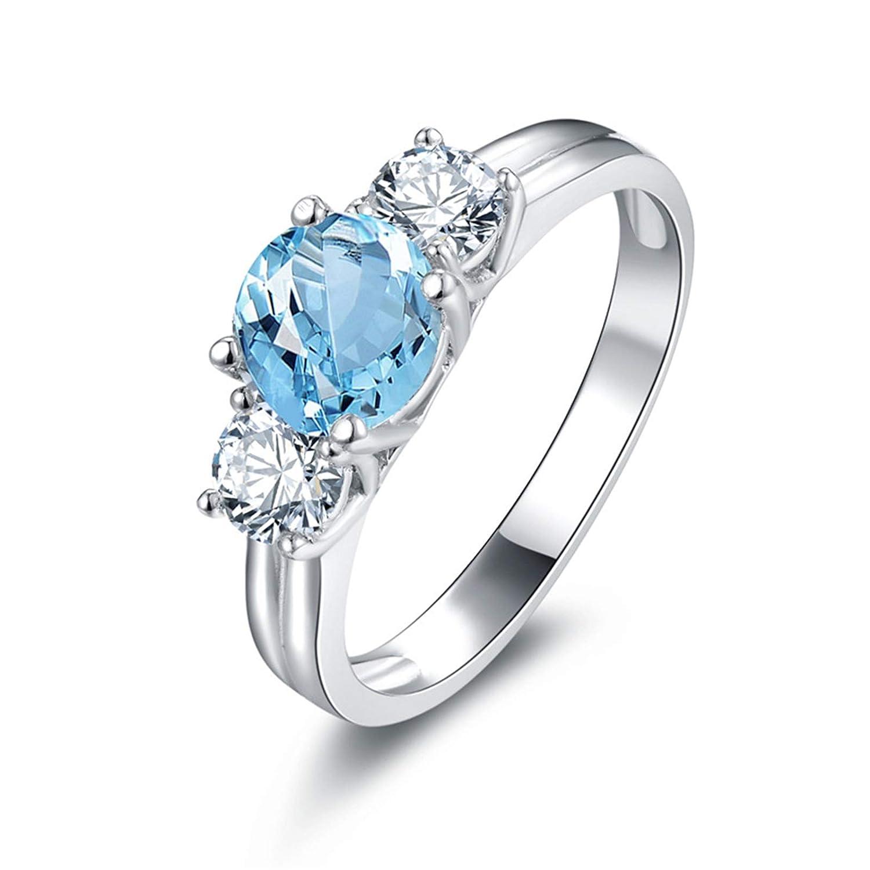 Amazon Anazoz Round Shape 65mm Blue Topaz Engagement Ring S925 Sterling Silver 3 Stone Wedding Rings Women Jewelry: 3 Stone Wedding Rings Women At Websimilar.org