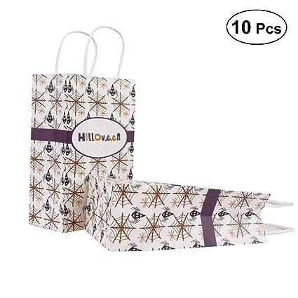 10pcs Halloween Paper Bag Hand Bag Spider Spiderwebs Pattern