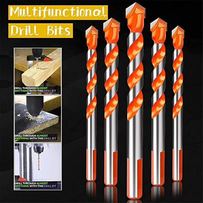 MYERZI Industrial Rotary 7Pcs Triangular-overlord Handle Multifunctional Auger Drill Bits for Tile Glass Brick Wall Wood Drill Bits Drill Bits Cutting
