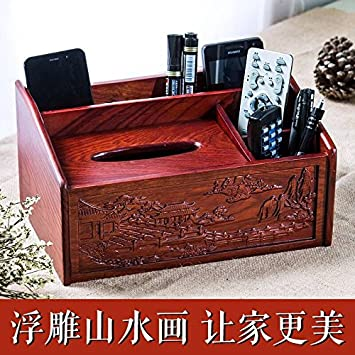 Rosewood Table Top Remote Controller Storage Box, Solid Wooden Paper Towel  Box, Multifunctional Living