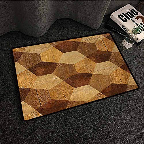 SONGDAYONE Polyester Door mat Retro Abstract Parquet Flooring Wooden Rustic with Geometric Monochrome Pattern for porches Brown Pale Brown,W35 xL47
