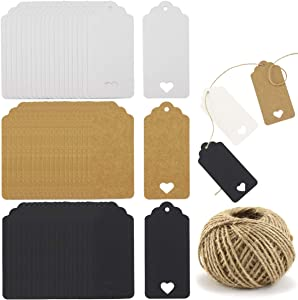 Owevvin 300 Pieces Hollow Heart Kraft Gift Tags Labels with 100 Feet Natural Jute Twine, Craft Hang Tags Thank You Tag Baby Shower Tags Party Favors Tags for Wedding Thanksgiving Christmas, 3 Colors