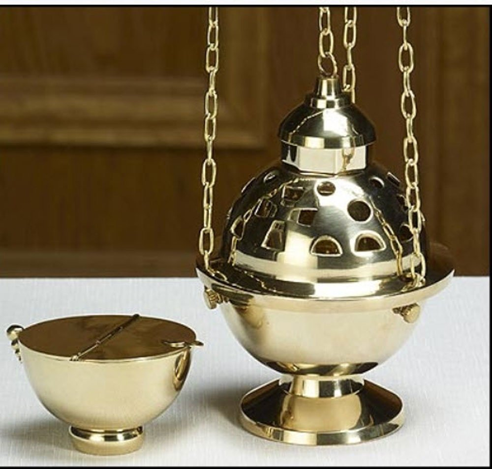 Beautifully Detailed Brass Hanging Censer and Boat Set