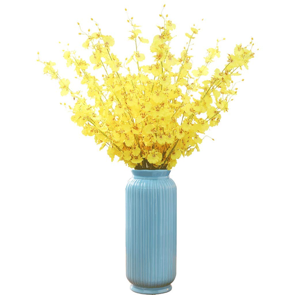 装飾の装飾品セラミックフラワーアレンジメントドライ花瓶クリエイティブホームリビングルームデスクトップテレビキャビネットに結婚祝いを送る LCSHAN (Color : Ceramic-Blue, Size : 32cm*13cm) B07T2GPJR5 Ceramic-Blue 32cm*13cm