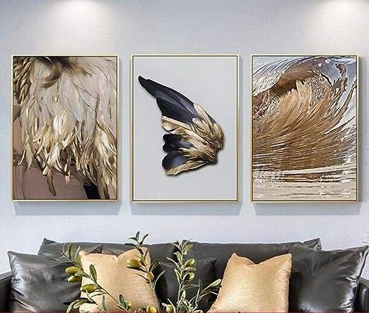 NR Imagen de Lienzo de 3 Partes con alas Doradas Plumas de ...