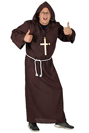 Traje de Monje Hombres de Color marrón monjes túnica Capucha ...