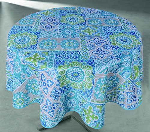 Round Tablecloths Outdoor Tablecloths Waterproof Blue Suzani 60 Inch Round