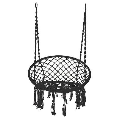 Cosy-store Hammock Chair Macrame Swing Chair, Cotton Hanging Macrame Hammock Swing Chair Ideal for Indoor, Outdoor, Home,Bedroom, Patio, Deck, Yard, Garden (Black): Garden & Outdoor