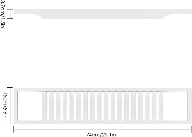 Homfa Bandeja Ba/ñera de Bamb/ú Bandeja Almacenamiento de Ba/ño Soporte Ba/ñera Madera para Libros Copa de Vino Jab/ón Esponja de Ba/ño 74x15x3.5cm