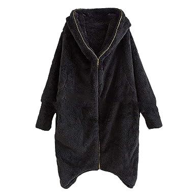 2d884d00cc34 LILICAT Women Girl Warm Cardigan Long Coat Zipper Fluffy Faux Fur ...