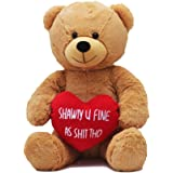 Hollabears Extra Large Shawty U Fine As Shit Tho Teddy Bear - Funny and Cute Valentine's Day Gift for Girlfriend, Boyfriend or Best Friends