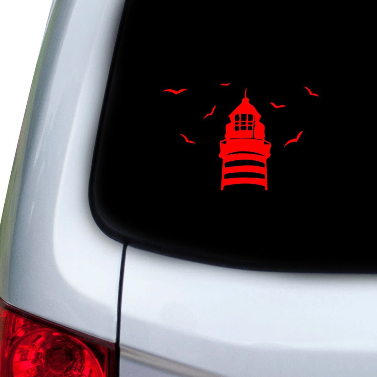 Red StickAny Car and Auto Decal Series Lighthouse Birds Flying Sticker for Windows Doors Hoods