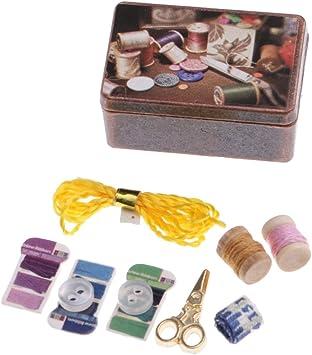 Amazon.es: Escala 1/12 Caja de Metal Kit de Herramientas de Costura en Miniaturas de Casa de Muñecas: Juguetes y juegos
