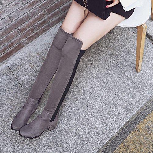 Mee Shoes Damen chunky heels langschaft zweifarbig Stiefel Grau