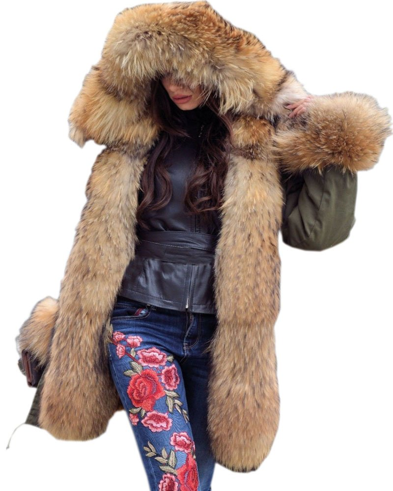 Roiii Women Military Winter Warm Thicken AmryGreen Luxury Faux Fur Coat Outdoor Hood Parka Long Jacket Plus Size (3X-Large, AmryGreen)