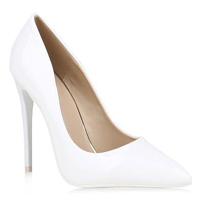 6f4390f9ffb38f Spitze Damen Pumps Lack High Heels Stilettos Klassische Schuhe 152910 Weiss  36 Flandell