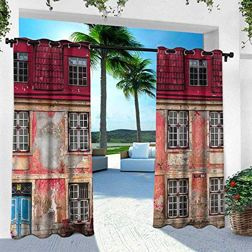 Hengshu Urban, Outdoor Patio Curtains Waterproof with Grommets,Old Aged Building in Ancient City Tallinn Estonia Antique Structure Windows, W84 x L84 Inch, Ruby Pink Sky Blue -