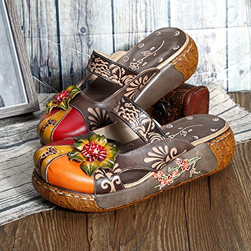 Gracosy Leder Slipper, Damen Leder Oxford Slipper Vintage Slip-On Blume rückenfreie Loafer Schuhe Grau