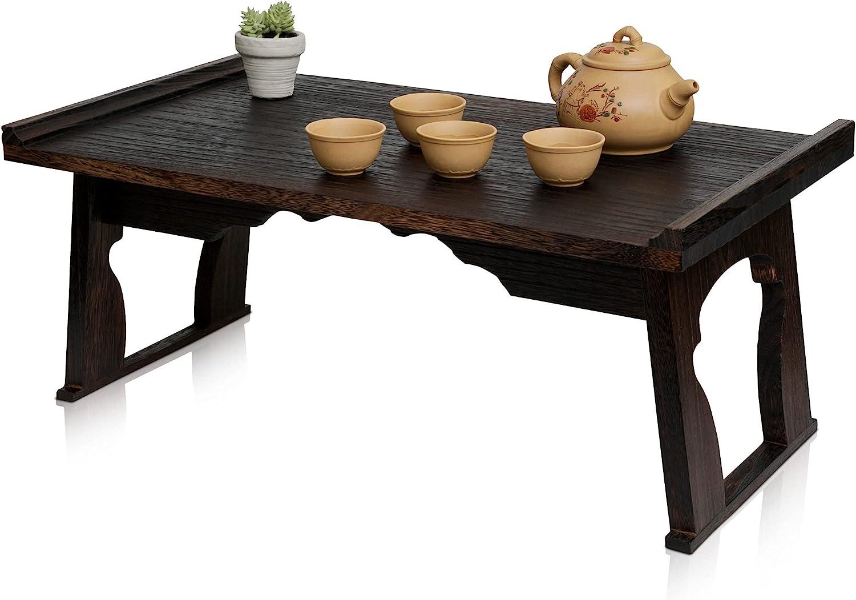 Kiri Meditation Table - Japanese Style Floor Altar Table for Meditation Decor & Buddhist Statues - Foldable Low Chabudai Tea Table for Floor Sitting Made with Paulownia Wood, Dark Walnut Color