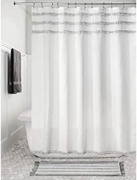 Idesign Fabric Shower Curtain With Tassels 72 X 72 Inches White And Gray