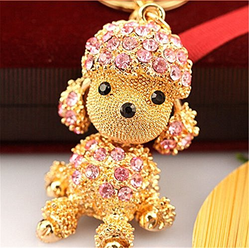 Lovely Fashion Diamond Crystal Rhinestone Keychain Key Chain Purse Handbag Bag Decoration Gift (Poodle Pink)